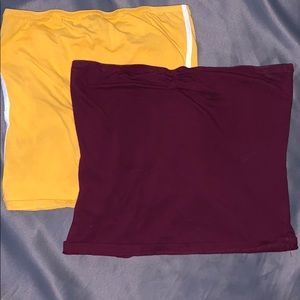 Mustard and Maroon tube top